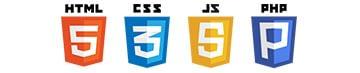 HTML5 CSS3 JAVASCRIPT PHP logos